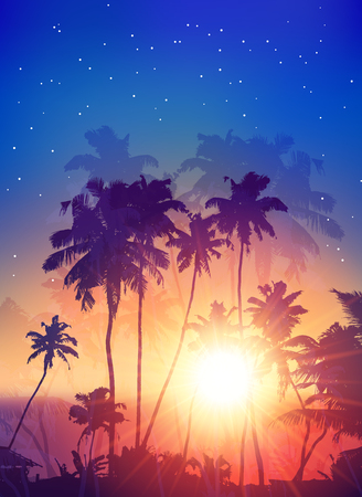 samui: Retro style sunset with palm silhouettes vector poster background