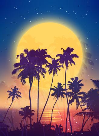 noche y luna: Estilo retro luna llena con siluetas de palmeras vector cartel de fondo