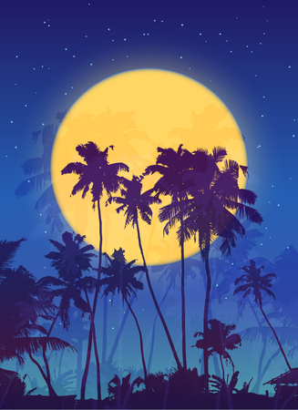 fool moon: Yellow moon with dark blue palm silhouettes vector poster background Illustration