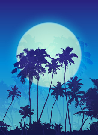 fool moon: Blue moon with palm silhouettes vector poster background