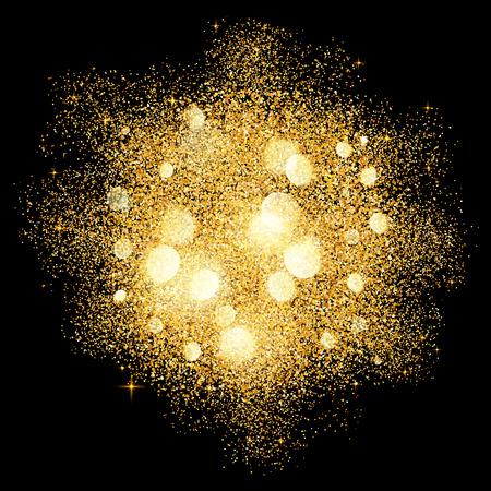 Golden glitter vector texture splash on black background