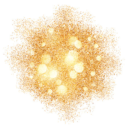 白い背景の上の黄金の砂の爆発ベクトル グラマー テクスチャ