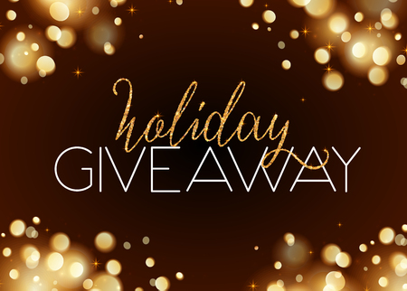 Holiday giveaway vector card with bokeh effect at dark background Çizim