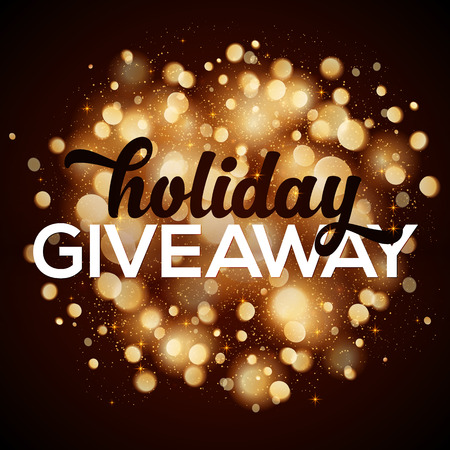 giveaway: Holiday giveaway vector card with bokeh effect at dark background with bokeh effect