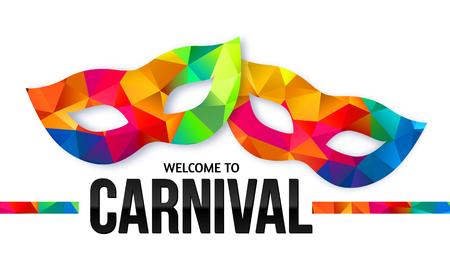 mascara de teatro: Brillantes máscaras de carnaval colores del arco iris del vector con la muestra de negro Bienvenido a Carnival Vectores