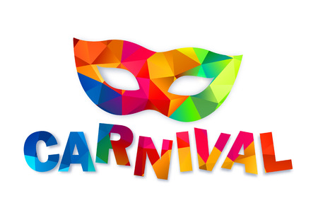 Bright rainbow colors triangles vector carnival mask and sign
