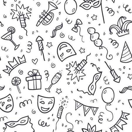Black carnival symbols in doodle style on white background, vector seamless pattern Stock Illustratie