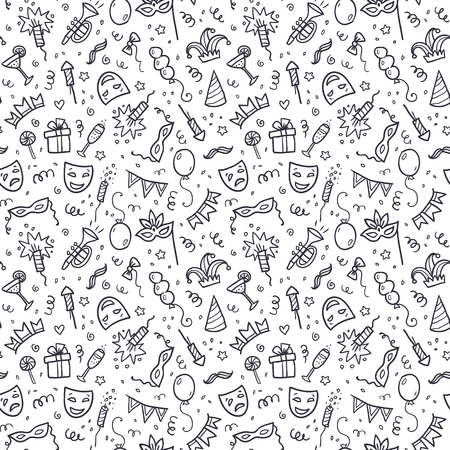 white party: Black carnival symbols in doodle style on white background, vector seamless pattern tile