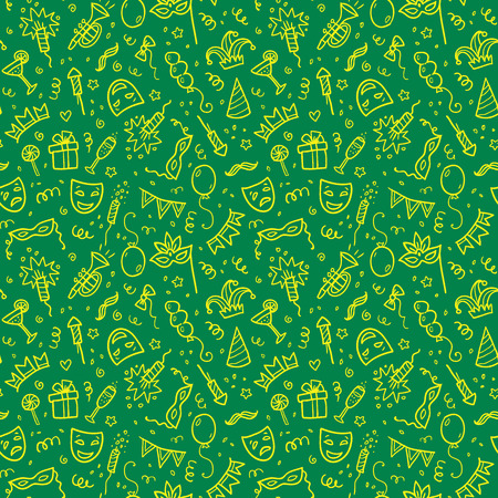 tile background: Yellow carnival symbols in doodle style on green background, vector seamless pattern tile Illustration