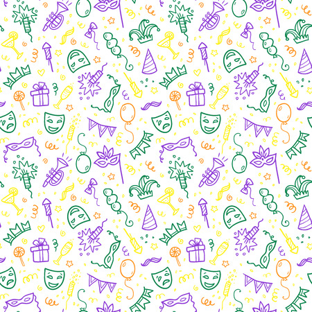 tile background: Green, yellow and violet carnival symbols in doodle style on white background, vector seamless pattern tile