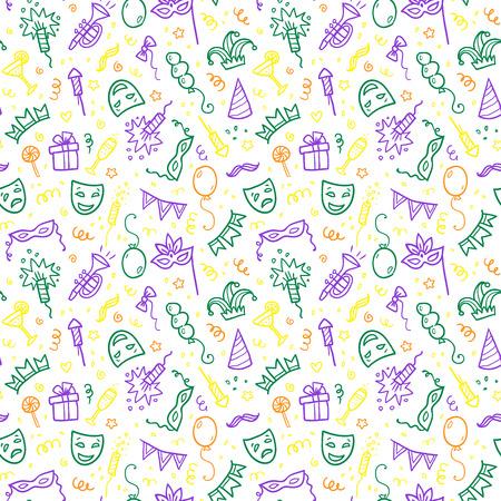 Zieleni, żółci i fiołkowi karnawałowi symbole w doodle projektują na białym tle, wektorowa bezszwowa wzór płytka