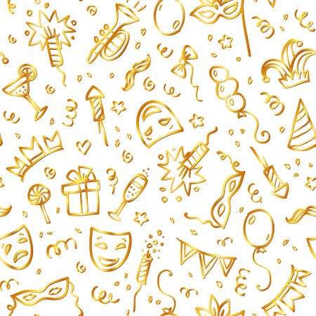 celebration background: Golden carnival symbols in doodle style on white background, vector seamless pattern Illustration