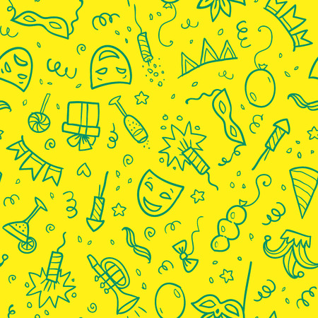 festival: Green carnival symbols in doodle style on yellow background, vector seamless pattern tile Illustration