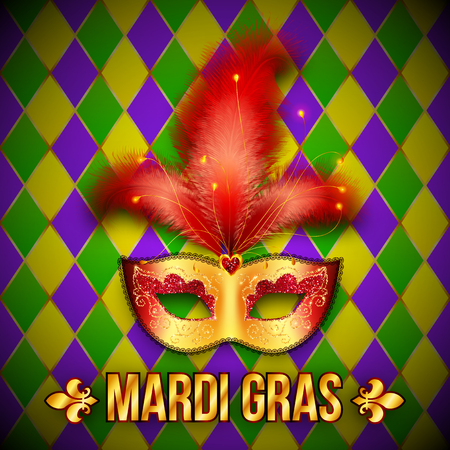 purim carnival party: Gold and red vector realistic carnival mask on colorful grid background Illustration