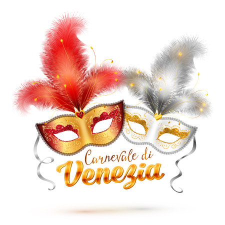 theater masks: Carnevale di Venezia vector sign and two bright carnival masks with feathers Illustration