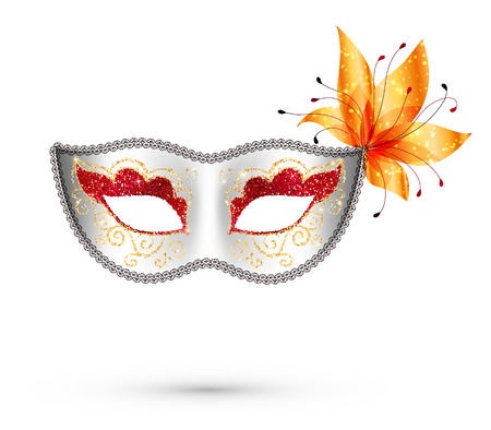 White vector carnival mask with red and gold glitter decoration and orange flower Illustration