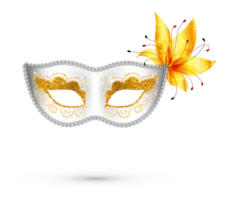 shrove: White vector carnival mask with yellow flower isolated on white