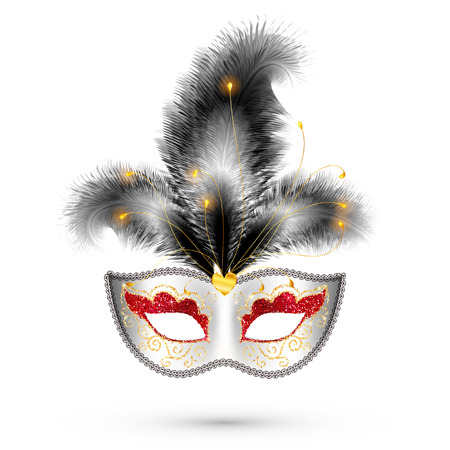 festival: White vector carnival mask with red glitter eyes and black feathers Illustration