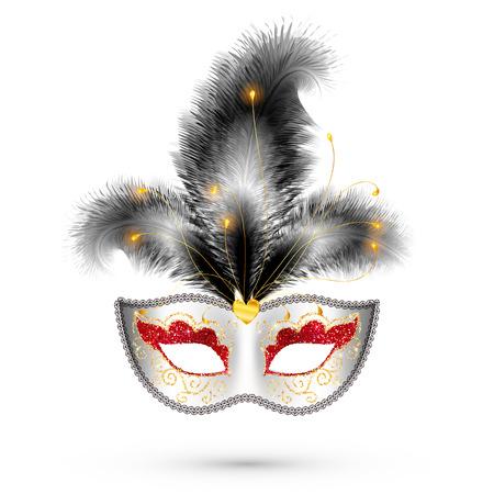 vector máscara blanca del carnaval con los ojos rojos y el brillo de las plumas negras