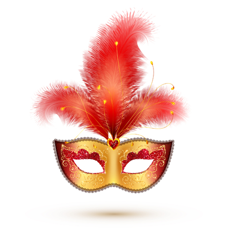 Vector golden carnival mask with red glitter decoration and realistic feathers Vectores