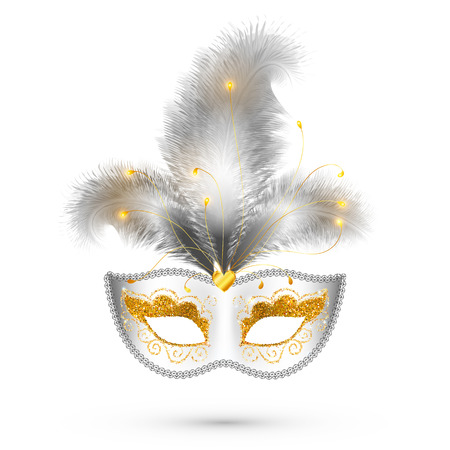 golden background: White vector carnival mask with golden glitter decoration and realistic silver feathers Illustration