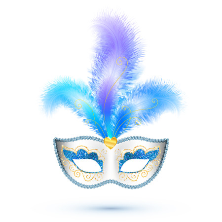 festival: White vector carnival mask with blue feathers and golden glitter isolated on white background