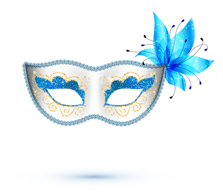 White vector carnival mask with blue flower and golden glitter