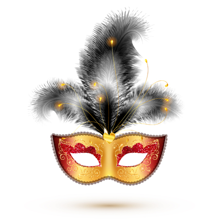 white party: Golden vector carnival mask with black feathers