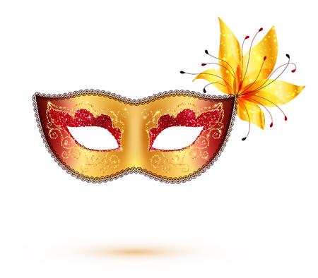 white mask: Golden vector carnival mask isolated on white background Illustration