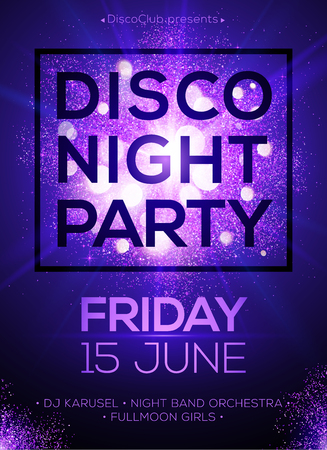 Disco night party vector poster template with shining violet spotlights background Ilustração