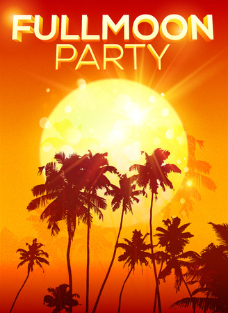 Big orange moon vector fullmoon party poster background