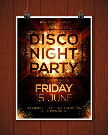 event party festive: Disco night party vector poster template with shining golden spotlights background