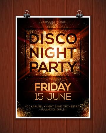 Noche disco plantilla del cartel del vector de fiesta con fondo dorado brillante focos