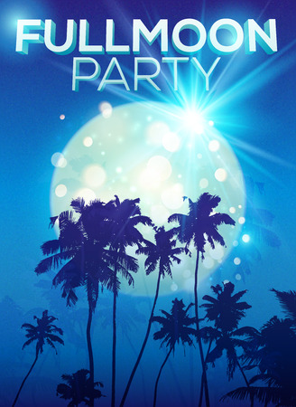 full moon effect: Full moon party vector poster template with big moon and dark palms silhouettes