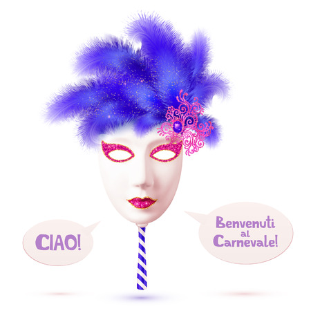 White realistic vector carnival mask with blue feathers and speech bubbles with italian signs Ciao and Benvenuti al Carnevale
