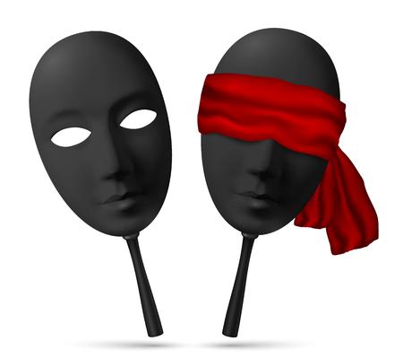 ojos vendados: Dos m�scaras negras del vector con los ojos abiertos y los ojos vendados