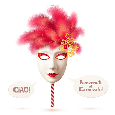 ciao: White realistic vector carnival mask with red feathers and speech bubbles with italian signs Ciao and Benvenuti al Carnevale Illustration
