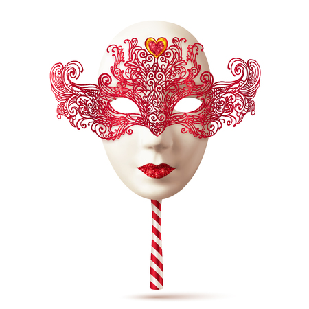carnevale: White realistic vector carnival mask with red lacy top and striped handle