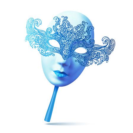 ハンドルを持つ青い華やかなベクトル フルフェイス カーニバル マスク