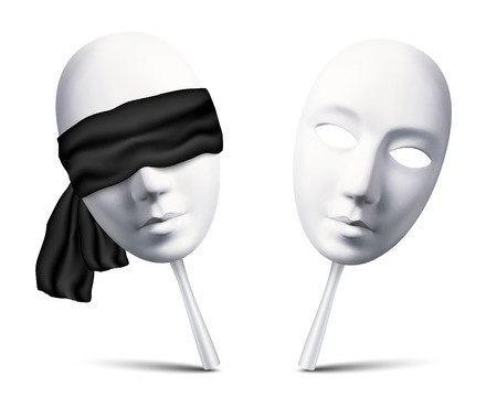 tragedy mask: Couple of white vector blindfolded masks for mafia game