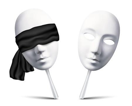 Paar witte vector geblinddoekt maskers voor maffiaspel