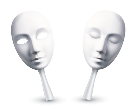 theatre symbol: White vector carnival masks with open and closed eyes Illustration