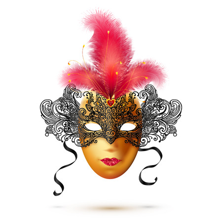 white color: Golden and black vector ornate carnival mask with bright red glitter and feathers Illustration