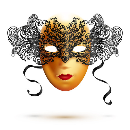 Golden full face vector carnival mask with ornate lacy black top