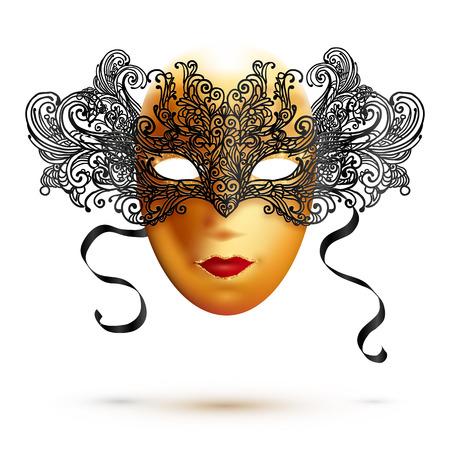 encaje: toda la cara máscara vectorial de oro del carnaval con la parte superior de encaje negro adornado Vectores