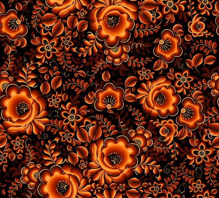 ロシアの伝統的な hohloma スタイルで黒の背景に花柄シームレスなパターンをベクトル オレンジ  イラスト・ベクター素材