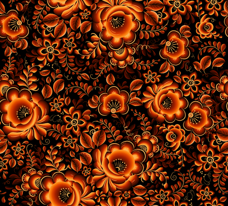 hohloma: Vector orange floral seamless pattern on black background in Russian tradition hohloma style