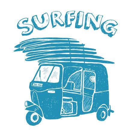 tuk tuk: Blue vector tuk-tuk with surfboards, grunge vintage logo