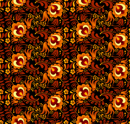 russian: Vector floral pattern in Russian hohloma style at dark background