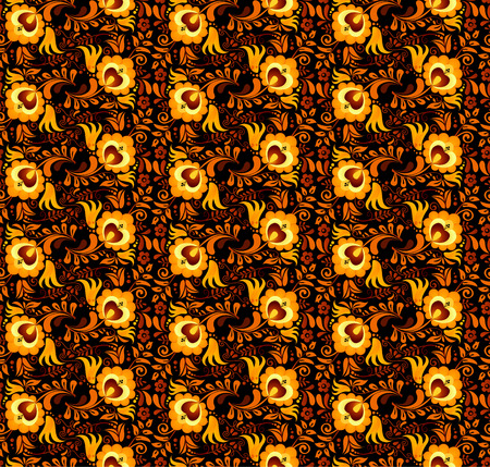 hohloma: Vector floral pattern in Russian hohloma style at dark background